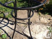 * Metal table in good shape, black in colour * Glass