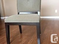 TABLE IS 42 in W x 80 in D x 30 in H FOUR UPHOLSTERED