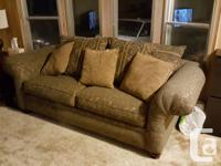 Overstuffed loveseat and couch for sale Green textured