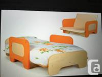 This is a really cute toddler bed that can also convert