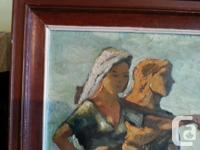 Painting on paper by DasGupta. Two women in a field.