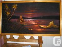"""Framed Black Velvet Painting - we call it """"Tropical"""