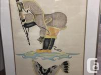 "$450.00 (PAIR) ""Seal Hunt"" Pair of Framed Native"