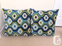 I'm selling (2) BLUE/GREEN PATTERNED throw/accent