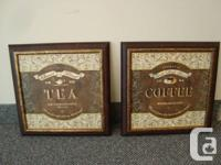 Pair of Lovely Wood Frame Coffee & Tea Sign Plaques  -