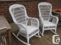 Set of real wicker rocking chairs and a side table with