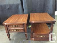 Pair of rectangular end tables, good quality, made by