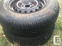 Pair of 2 tires Motomaster AWII 205/75R14 95T on 5 bolt