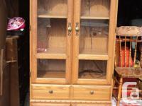 "Palliser china cabinet. 78""h x 32""w. Top storage where"