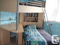 Palliser Loft bunk bed with large desk & shelves. Great