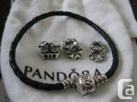 For sale authentic Pandora charms and bracelet: -