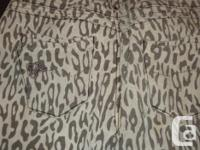 Paris Hilton Leopard Grey Black Skinny Jeans size 30