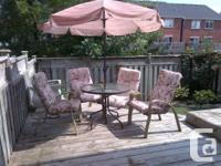 """Patio Set with Round Glass Table (36"""" diameter), 4"""