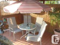 4 aluminum powder coated, poly weave quality chairs,