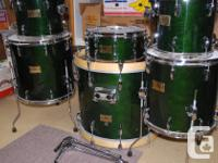 These six drums are Pearl Masters Custom from the mid