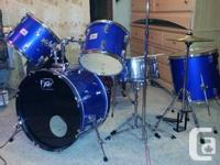 Royal blue 7 piece Peavey Drum kit for sale or trade.