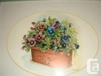 Peggy Abrams Pansy Flower Prints with jade green Wood