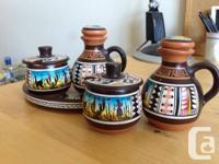 Genuine 5-piece Peruvian clay condiment serving set.