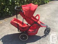 Phil and Teds red double stroller available. When we