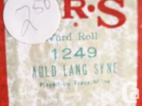 Piano rolls $10.00 each or $80.00 for all nine. List of