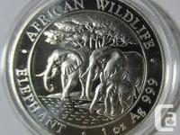 Pi�¨ce en argent/silver bullion Somalian elephant 2013