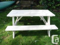 New Picnic table not stained made with coated screws