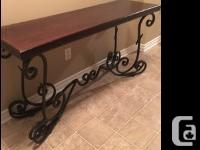 Rod Iron and Real Cherry wood table can use anywhere
