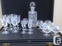 Pin Wheel Crystal Stemware and Decanter - $125