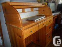solid wood , some wear , solid knotty pine   secretary