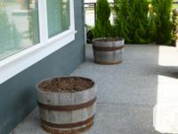 We have 3 half barrel planter boxes for $25 each, firm.