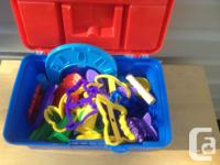 Plastic storage container with handle and Play dough