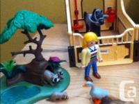 Playmobil farm, raccoon family, horse stable and horse,