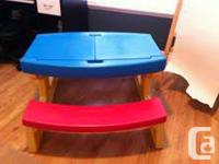 Playskool picnic table - top sides open for storage, in