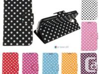 Polka Dots Pattern Flip Cover Stand Leather Case for