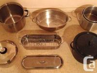 Pots & Saucers / Stainless Steal . In excellent