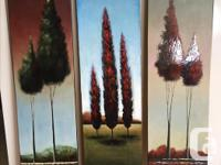 3 original oil paintings with textured backgrounds and
