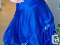 Royal Blue prom dress size 10, tie up back, strapless.