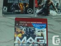For ps3:  battlefield 3 $15  Dead Island $12  Mag $5