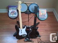 Hi i have two guitars and drumes and mic and two games