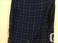Purple plaided Cotton American Eagle Shirt Size: 6