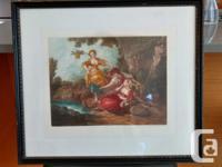 Mezzotint framed print hand engraved by Hugh H. Bonner,