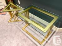 """THREE CUSTOM MADE LIVING ROOM TABLES WITH 3/4"""" BEVELLED"""