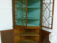 Canadian Mahogany corner cabinet,  Good colour and lots