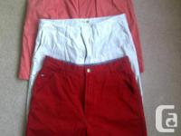 BOTTOM TO TOP: Red Tommy Hilfiger shorts, waist 34,