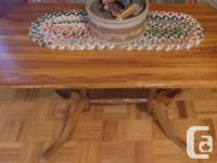 This solid table is 37 inches long, 18 inches wide and