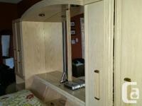 Queen bedroom suite. Palliser washed Oak wall-unit bed.
