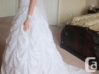 Strapless white wedding event dress with sophisticated
