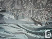 Queen dimension Blue Sateen & high with White floral