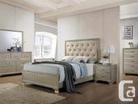 Elegant style hardwood bed frame with plush upholstered