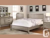Modern style hardwood platform bed frame in rich grey